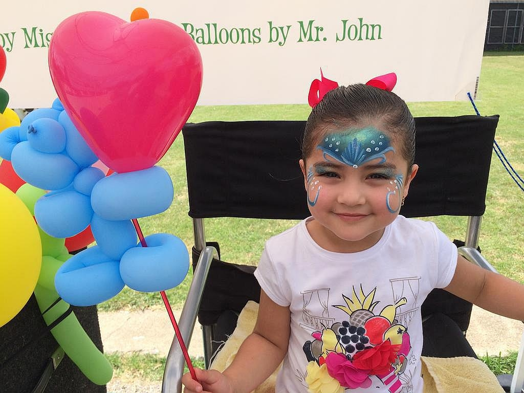 Mermaid Face Paint and Teddy Bear Balloon