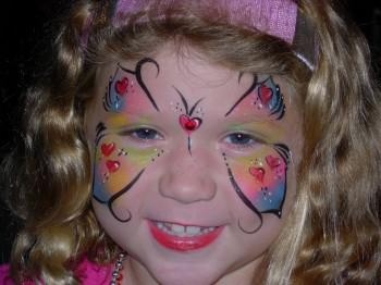 Heart Butterfly Face Painting